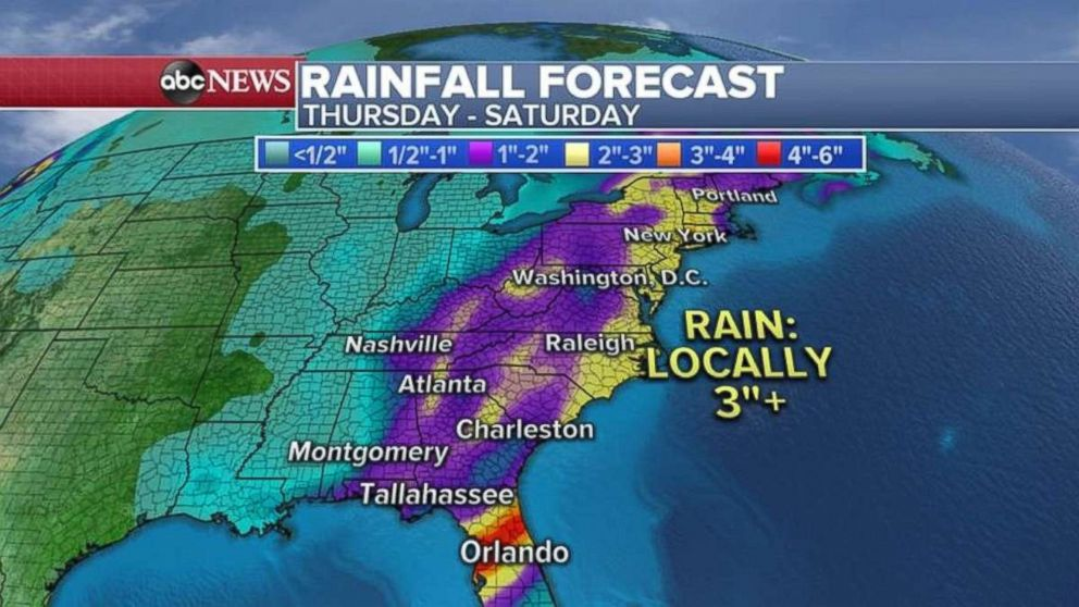 PHOTO: Much of the East Coast could see 3 inches of rain through Saturday, with central Florida seeing even more.
