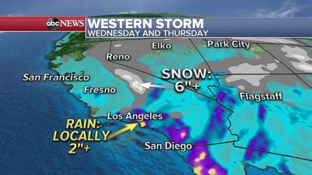 PHOTO: As much as 2 inches of rain could fall locally near Los Angeles on Wednesday and Thursday. A half a foot of snow is possible in the Sierra Nevadas.