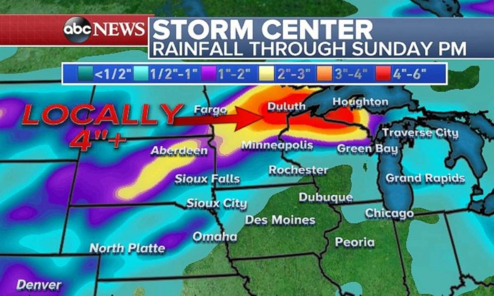 Heavy rainfall is expected in eastern Minnesota and northern Wisconsin this weekend.
