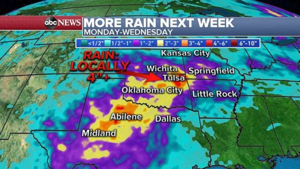 PHOTO: After a quiet weekend, there will be more rain for the Southern Plains at the start of next week.