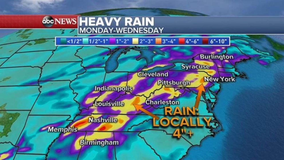 PHOTO: Rainfall could be as much as 4 inches locally in eastern Kentucky and eastern Pennsylvania.