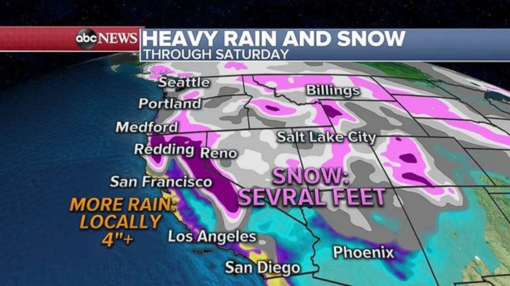 PHOTO: More than 4 inches of rain is possible locally along the coast line, while several feet of snow is likely in the Sierra Nevada Mountains.