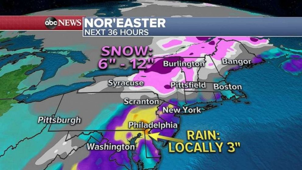 PHOTO: Rainfall will be heaviest in the Mid-Atlantic and Philadelphia areas, while northern New York and Vermont could see 6 to 12 inches of snow.