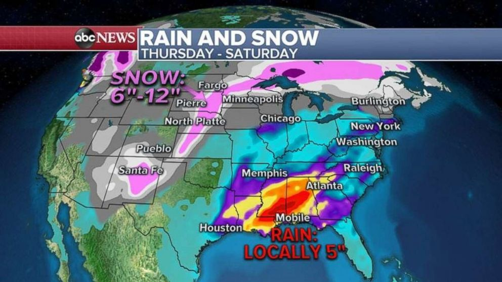 PHOTO: As much as 5 inches of rain are possible along the central Gulf Coast, while as much as 1 foot of snow could fall in the northern U.S. over the next three days.