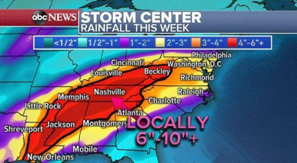 Flooding is possible throughout the South due to a number of storms this week.