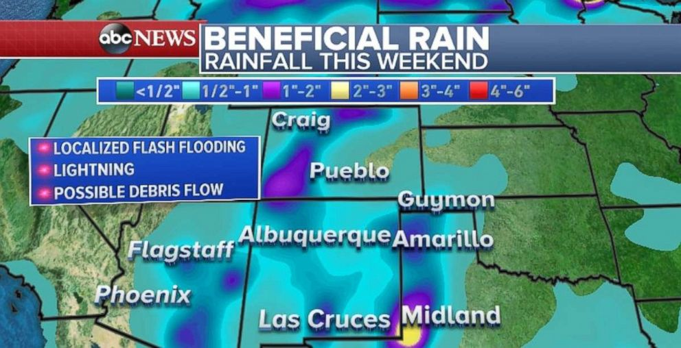 Much-needed rainfall is coming to the Southwest, but flash flooding is possible.