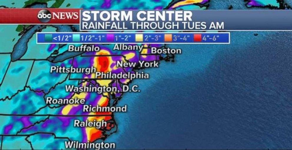 Heavy rainfall totals will stretch from North Carolina all the way into New England.