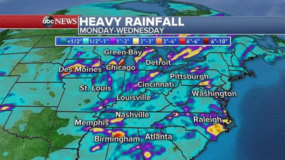 Rainfall totals will be locally heavy, with as much as 4 inches possible in areas such as eastern North Carolina.