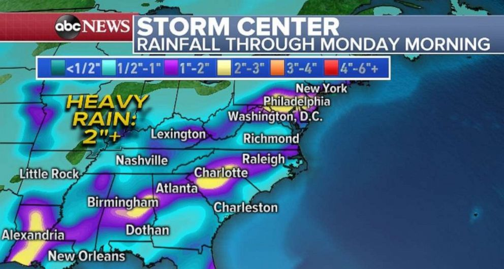 driving  street PHOTO: Rainfall totals could be over 2 inches in parts of the Gulf and Southeast.