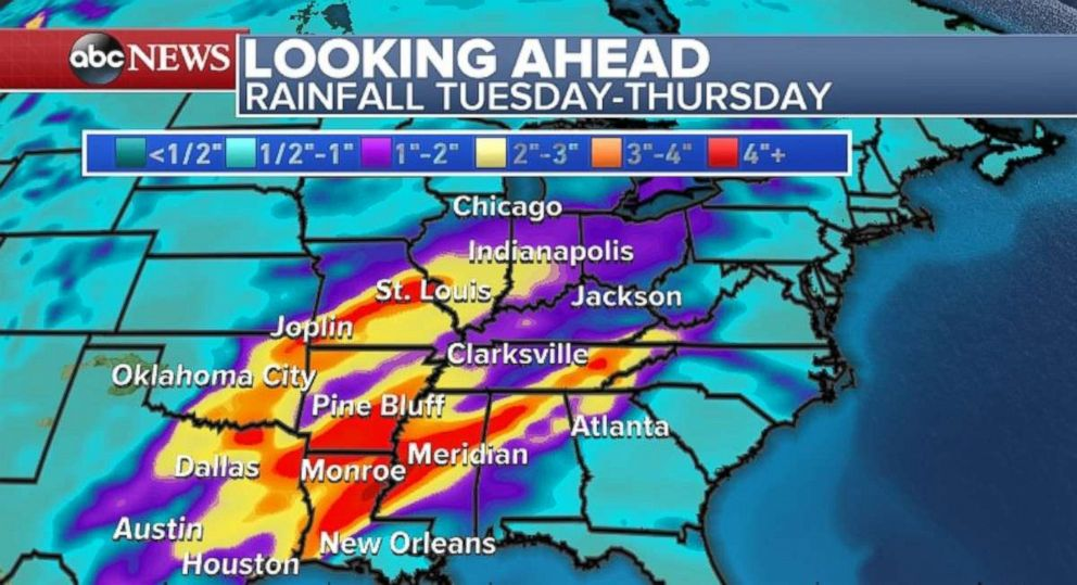 Heavy rain could cause flooding midweek in the Mississippi River Valley.