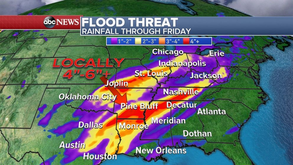 Heavy rain through the end of the week will cause a flooding threat in much of the South.