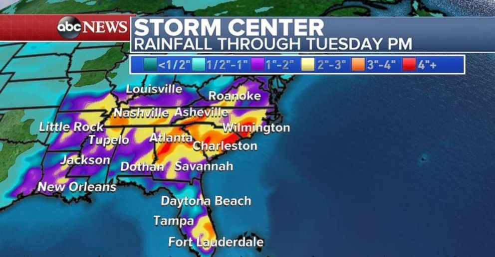 Rainfall totals will be heaviest through Georgia, South Carolina and North Carolina through Tuesday.
