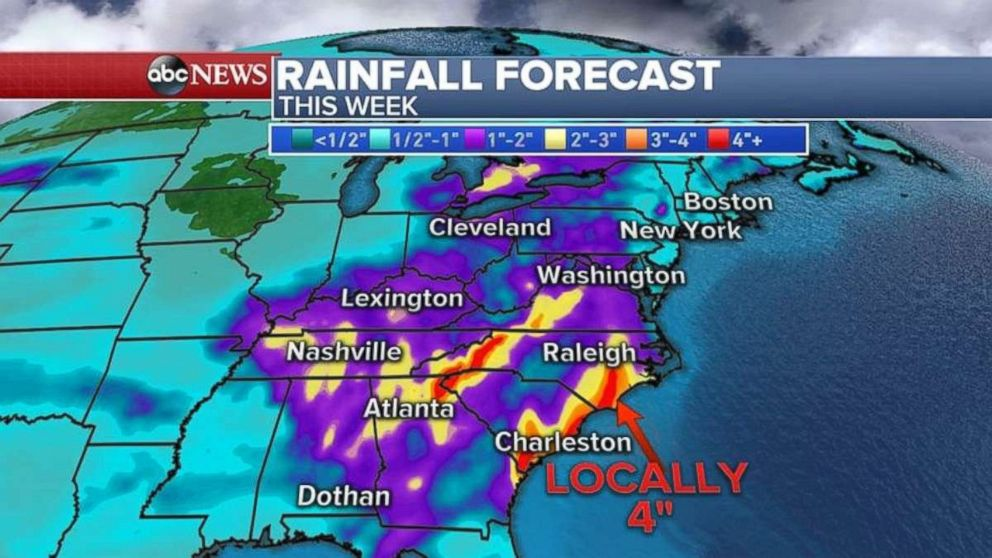 Rainfall amounts will be heaviest along coastal North Carolina and South Carolina.