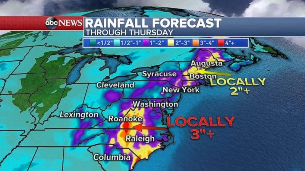 Rainfall totals will be heaviest in North Carolina and Virginia.
