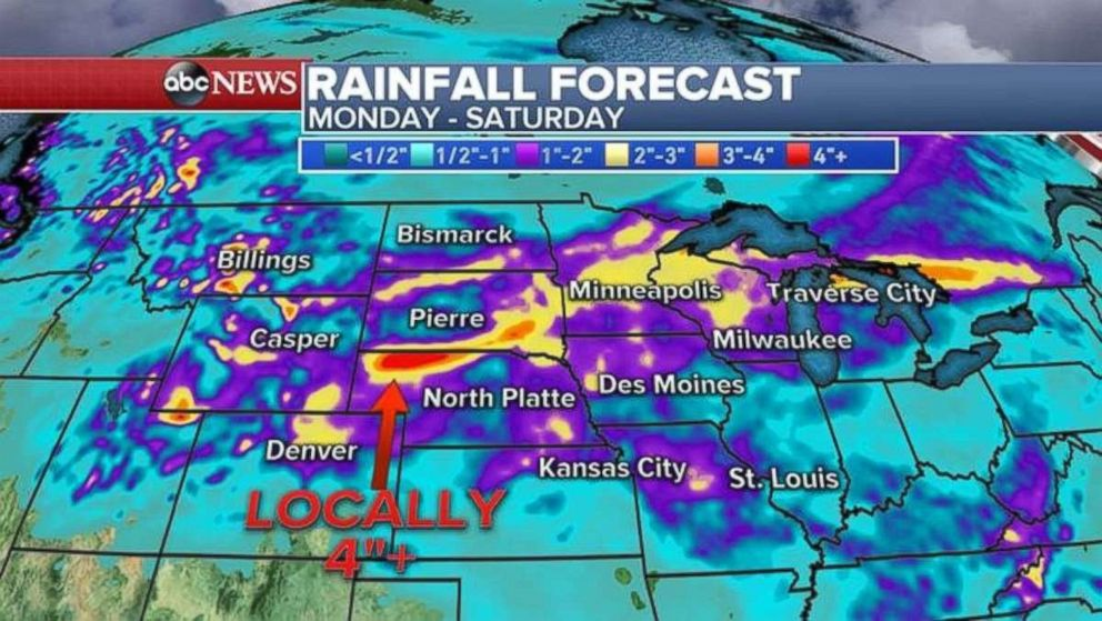 Rainfall in the Northern Plains will be heaviest in northern Nebraska.