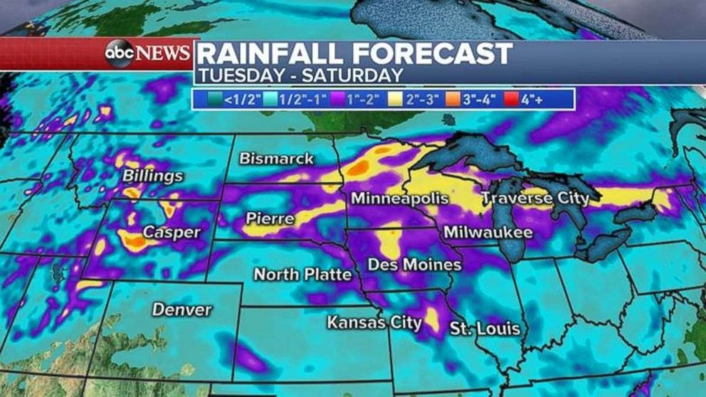 Rainfall totals will be 2 to 3 inches across a wide swath of the country.