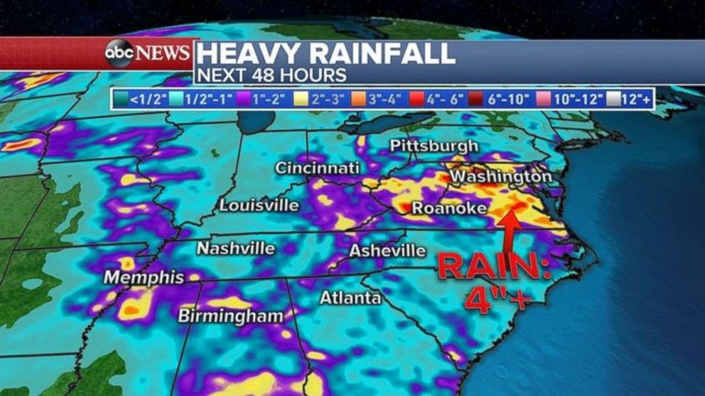Hart-hit Virginia, Maryland and West Virginia are likely to see more heavy rain through the weekend.