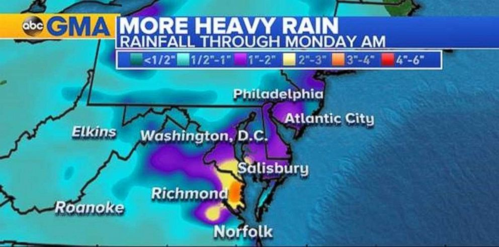 Rainfall rates will be highest in eastern Virginia, Maryland and Delaware.