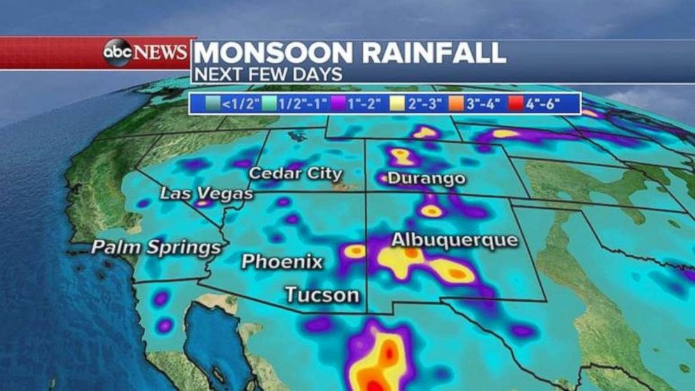 Rainfall of half and inch or more fell across much of the Southwest on Monday. More is expected on Tuesday.