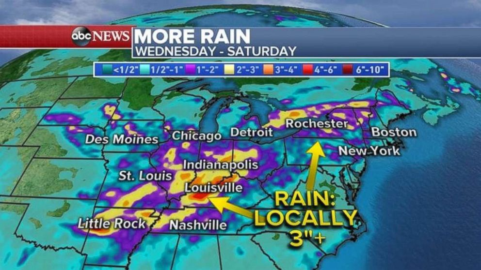 Rainfall will be heaviest in Indiana, Kentucky, Nashville and southern Illinois.