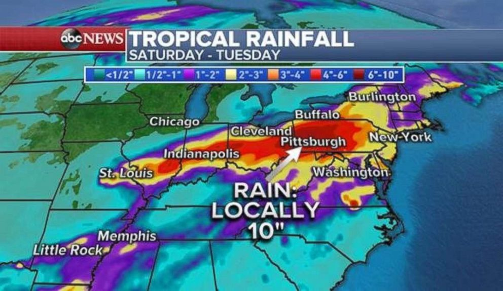 Ten inches or more of rain could fall locally in western Pennsylvania and Ohio through Tuesday.