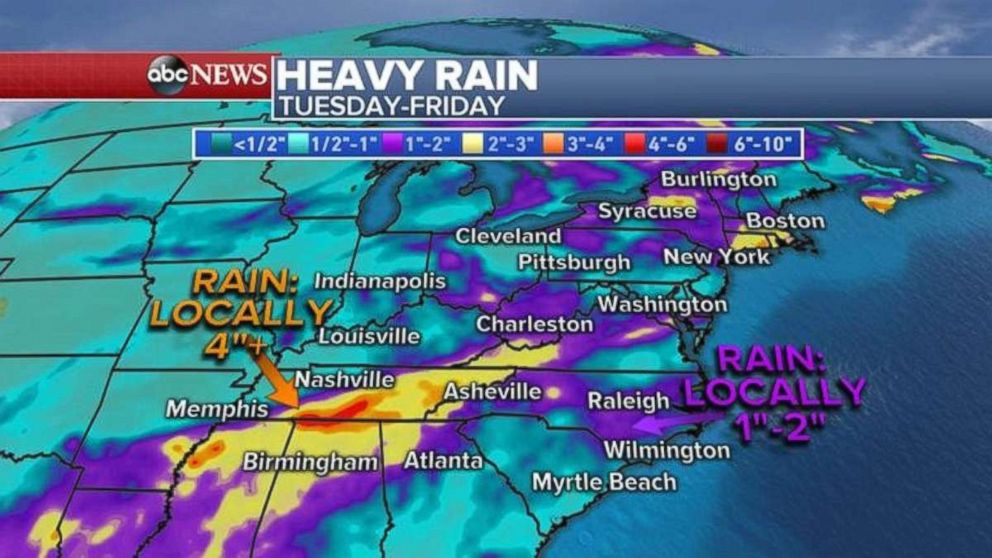 PHOTO: Rainfall could be over 4 inches in eastern Tennessee, while hard-hit North and South Carolina may deal with an inch or two more rain.