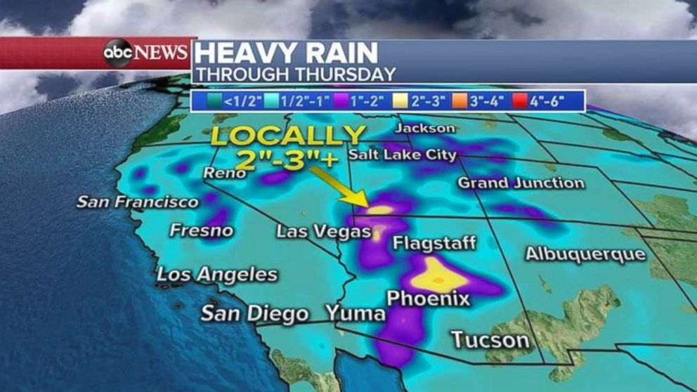 PHOTO: Rainfall totals will be 2 to 3 inches locally in Arizona and southwest Utah.