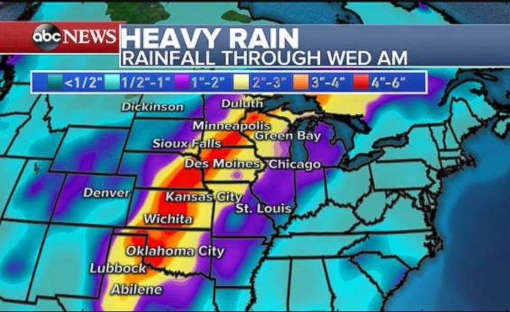 PHOTO: Rainfall totals will be highest throughout the Great Plains and stretching up to Minnesota and Wisconsin.