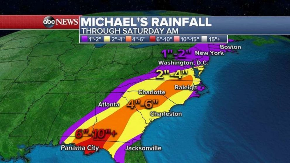 PHOTO: Rainfall could be 6 to 10 inches where Hurricane Michael makes landfall.