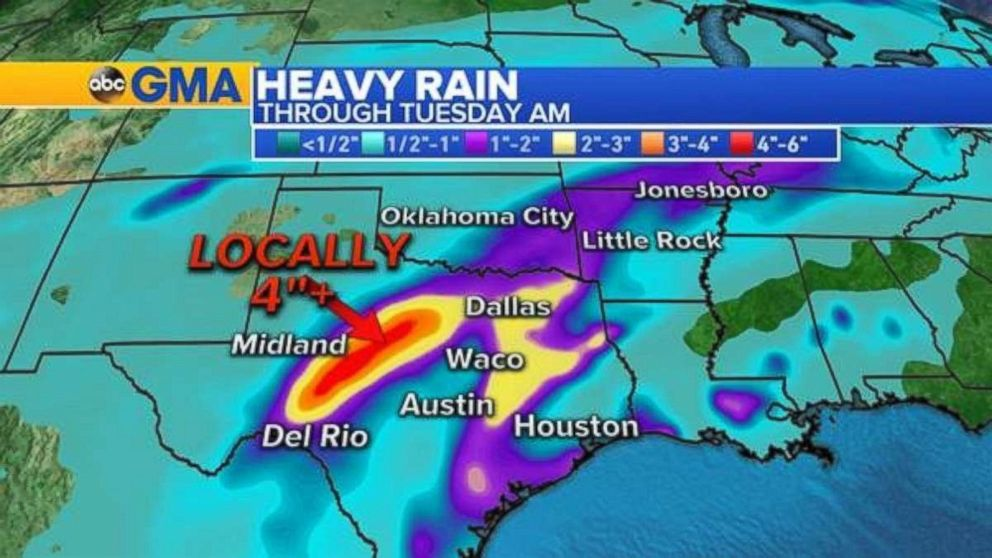 Heavy rain is expected over the next two days in Texas.