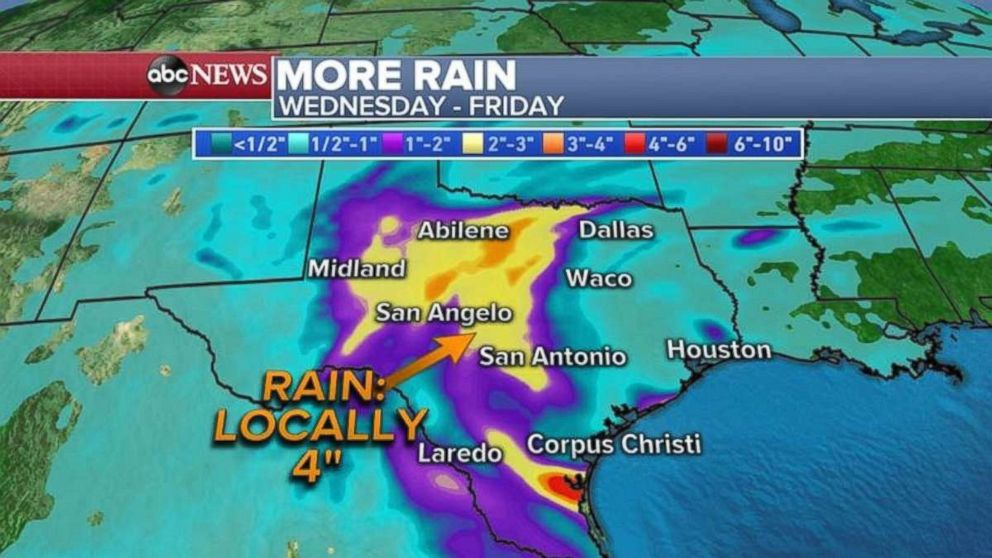 PHOTO: Some areas in central Texas could see 4 inches of rain through Friday.