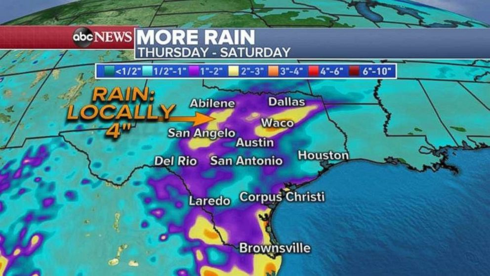 PHOTO: An additional 4 inches of rain could fall in some parts of central Texas through Saturday.