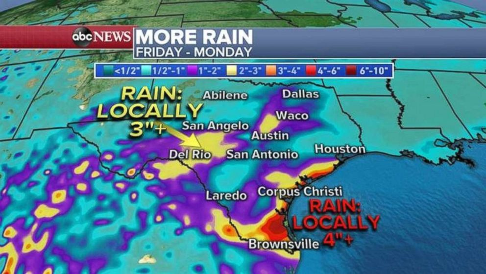 PHOTO: Rainfall will continue through the weekend in Texas.