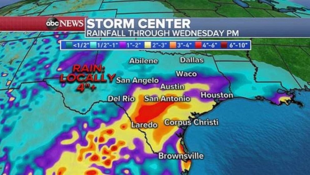 PHOTO: Rainfall will be heaviest in south-central Texas over the next few days.