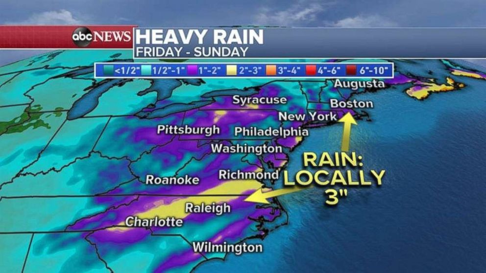 PHOTO: Rainfall totals could be as much as 3 inches locally in parts of North Carolina and Virginia.