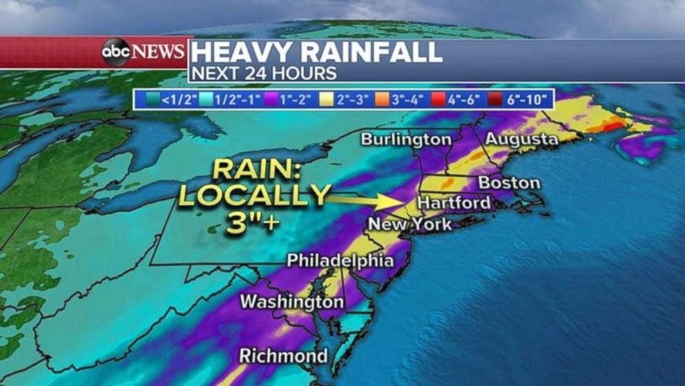PHOTO: As much as 3 inches of rain could fall locally in parts of the Northeast.