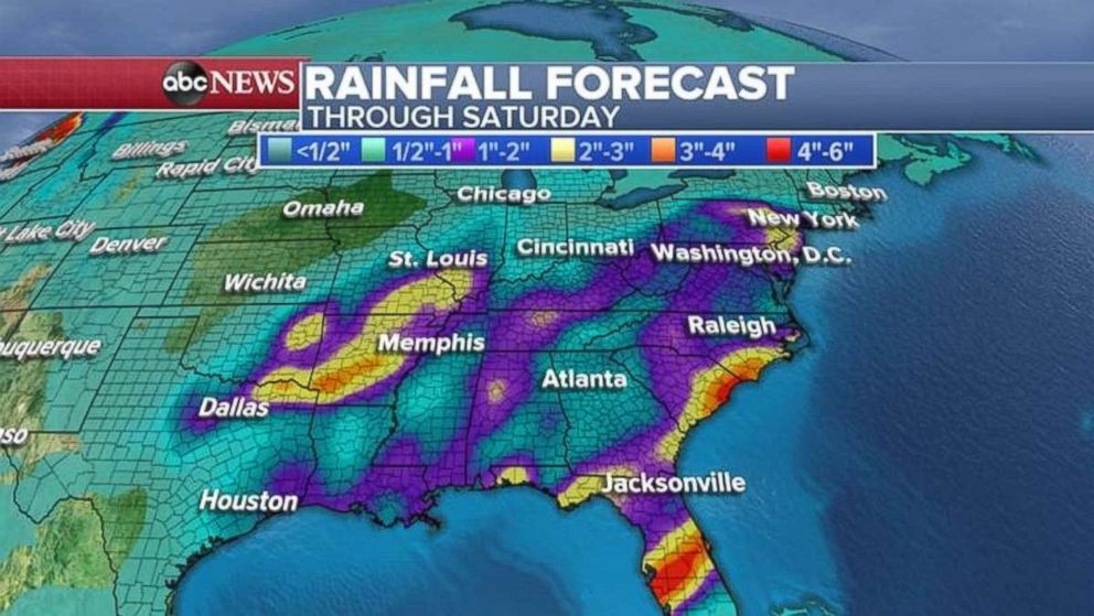 PHOTO: Rainfall totals will be highest in Arkansas, central Florida, and the Southeast coast.