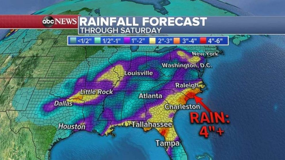 Rainfall totals will be highest in the Southeast from northern Florida to North Carolina.