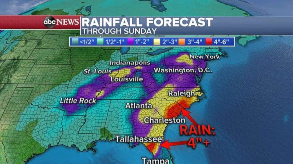 PHOTO: Rainfall will be heaviest from Tallahassee, Fla., up to Raleigh, N.C., through Sunday.