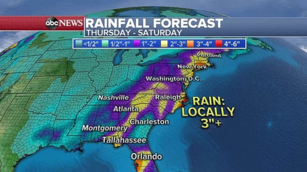 PHOTO: Rain could be over 3 inches locally in places along the East Coast.