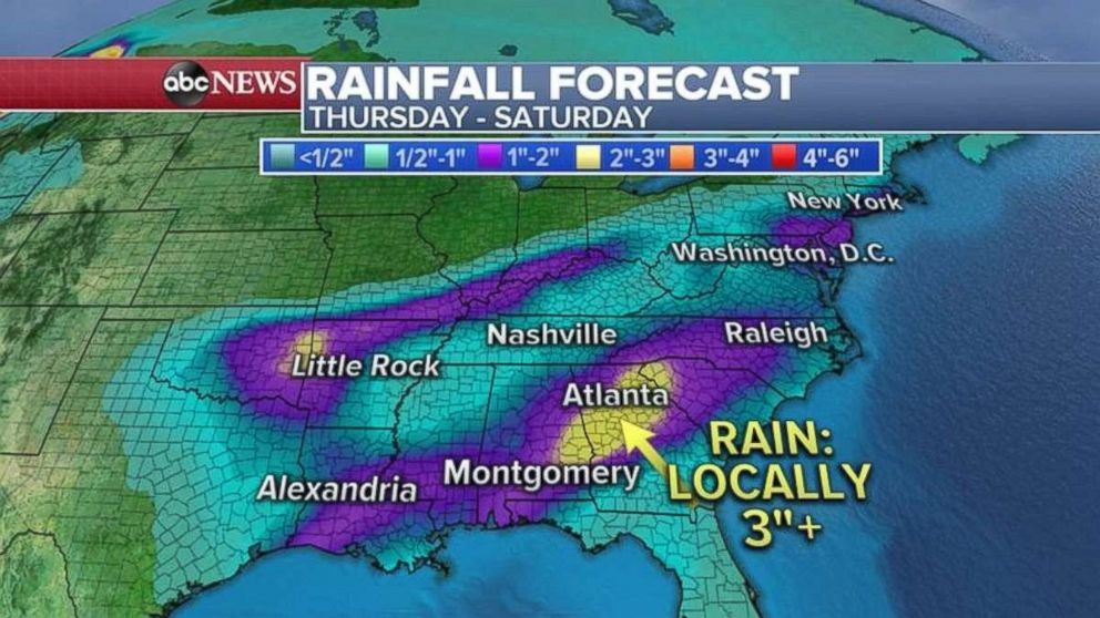 PHOTO: Rainfall totals could be as much as 3 inches locally in central Georgia.