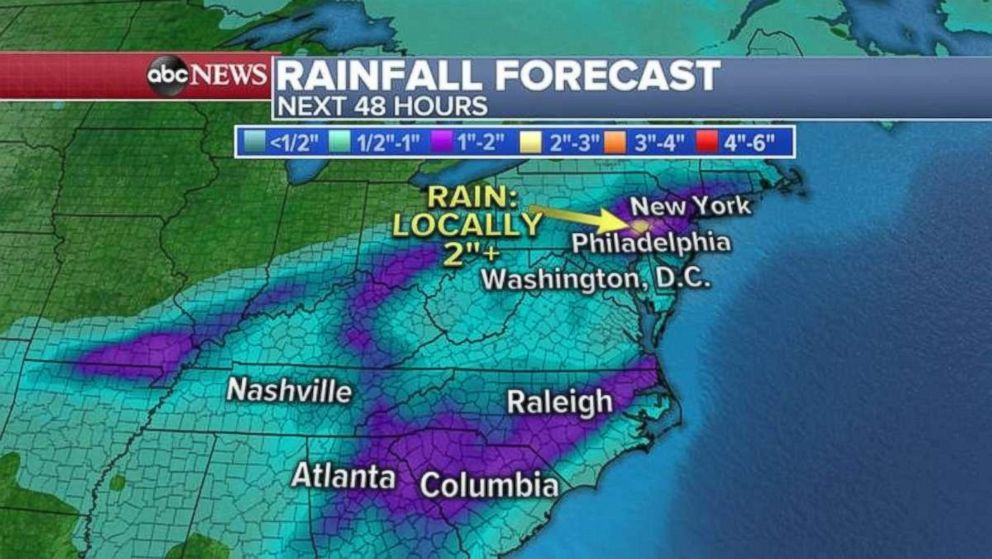 PHOTO: The heaviest rainfall totals will be in the Carolinas and the tristate area.