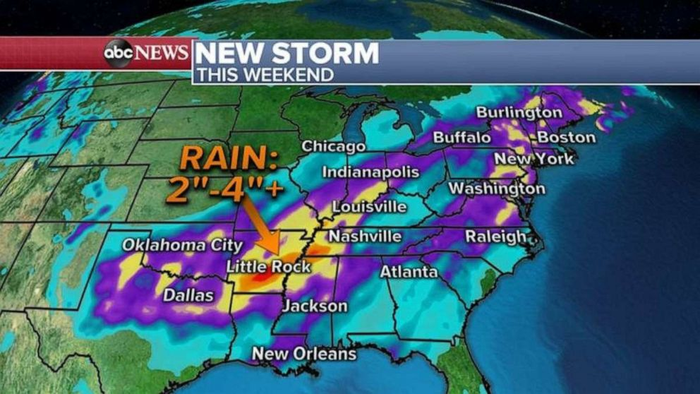 PHOTO: The highest rainfall totals will be in Arkansas and western Tennessee.