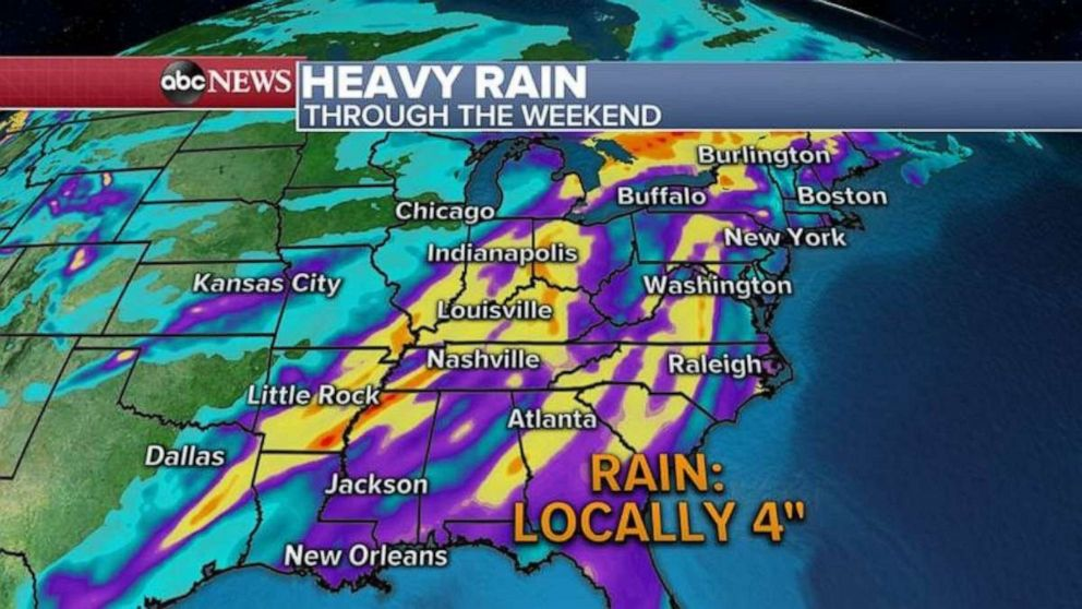 PHOTO: Parts of the South could see over 4 inches of rain locally.