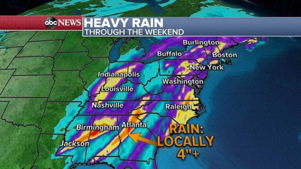 PHOTO: Over 4 inches of rain is possible in the Birmingham, Ala.; Jackson, Miss.; and Atlanta through the weekend.