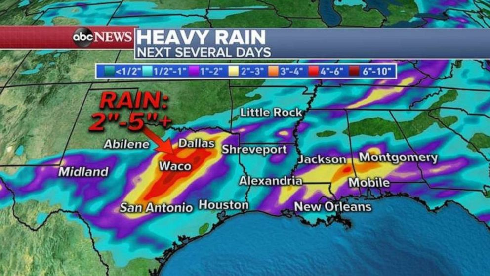 PHOTO: As much as 2 to 5 inches of rain could fall over the next several days in central Texas.
