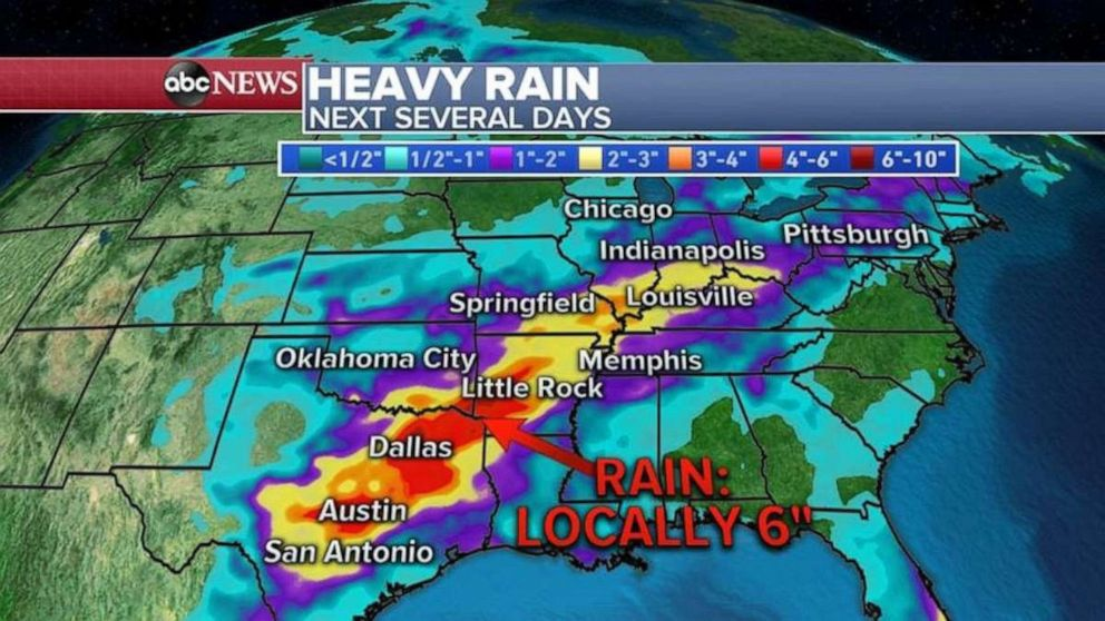 PHOTO: Areas of central Texas, through Arkansas, could see as much as 6 inches of rain this week.
