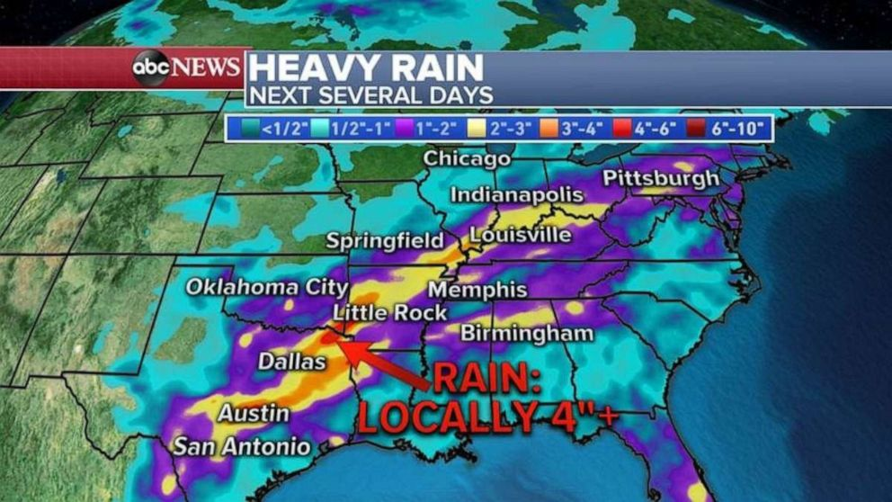 PHOTO: The highest rainfall totals will come in northeast Texas and into Arkansas.