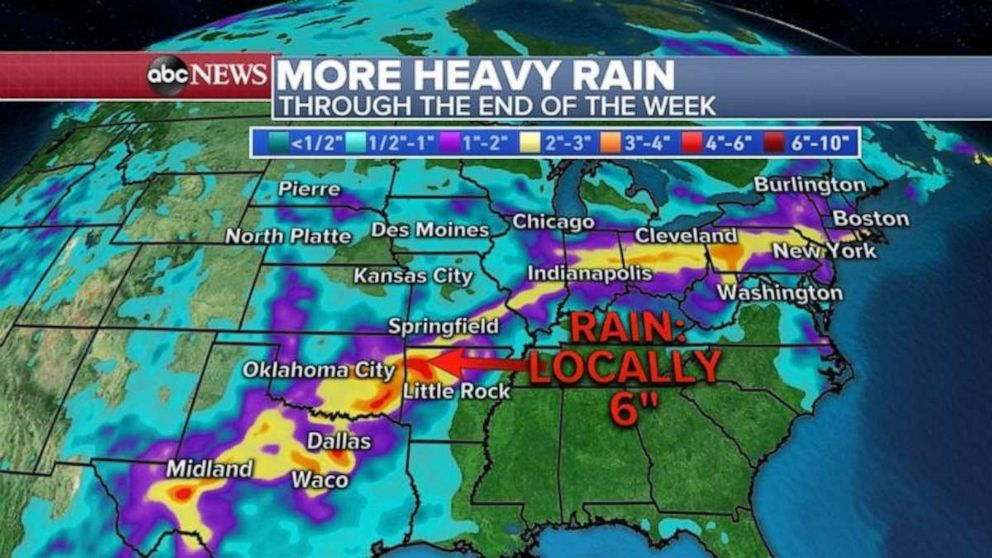 PHOTO: The highest rainfall totals will come in Texas and northern Arkansas over the next few days.