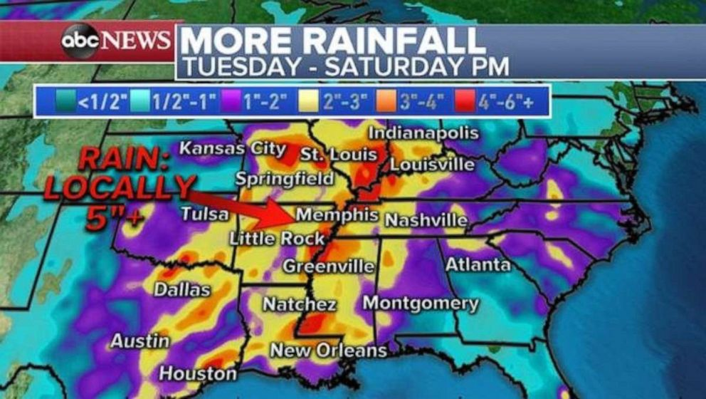 PHOTO: Heavy rainfall later this week could trigger more flooding along the Mississippi and Arkansas rivers.